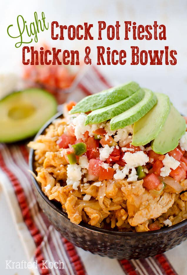 Ordinary Easy Mexican Main Dishes Part - 4: Light Crock Pot Fiesta Chicken U0026 Rice Bowls ~ Loaded With Chicken, Brown  Rice And