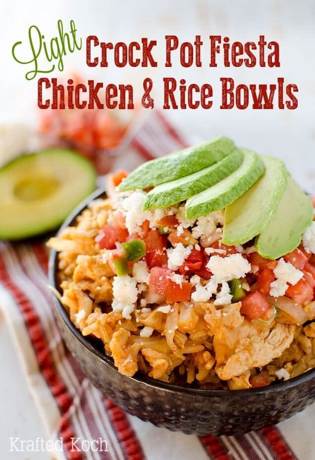 Light Crock Pot Fiesta Chicken & Rice Bowls Cropped