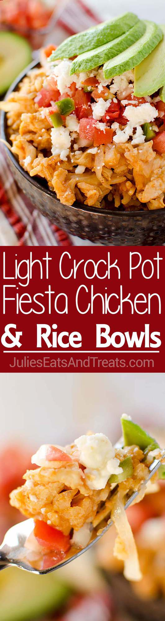 Light Crock Pot Fiesta Chicken & Rice Bowls loaded with chicken, brown rice and pico de gallo for a healthy dish you can throw in your slow cooker for an easy and delicious meal!