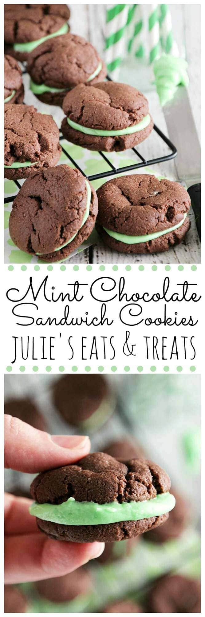 Mint Chocolate Sandwich Cookies ~ Quick& Easy, Soft, Chewy Chocolate Cookies Stuffed Creamy Mint Filling!