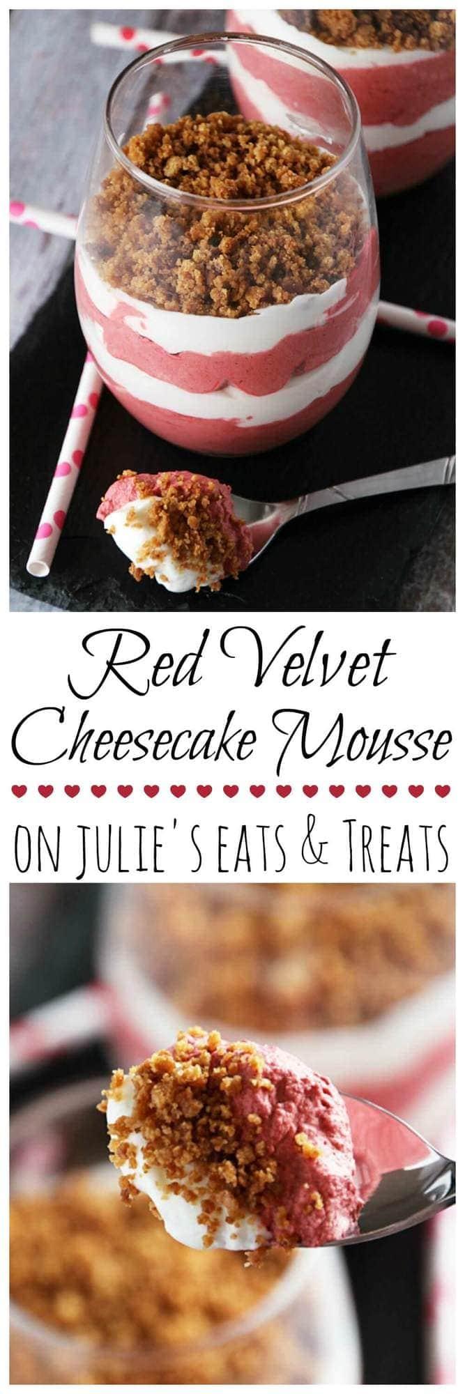 Red Velvet Cheesecake Mousse ~ Light & Fluffy Red Velvet and Cheesecake Layered Mousse and Topped with Graham Cracker Crust!