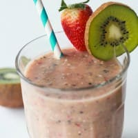 Strawberry Kiwi Smoothie ~ Packed with Vitamin C, Fiber, Potassium, antioxidants, all kinds of good stuff; plus it's dairy and sugar free!