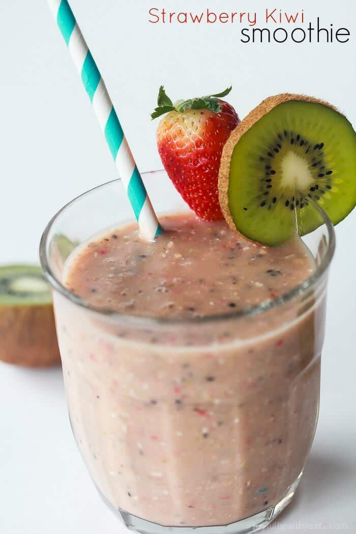 A healthy nutrient packed Strawberry Kiwi Smoothie to start the new year off on the right foot!