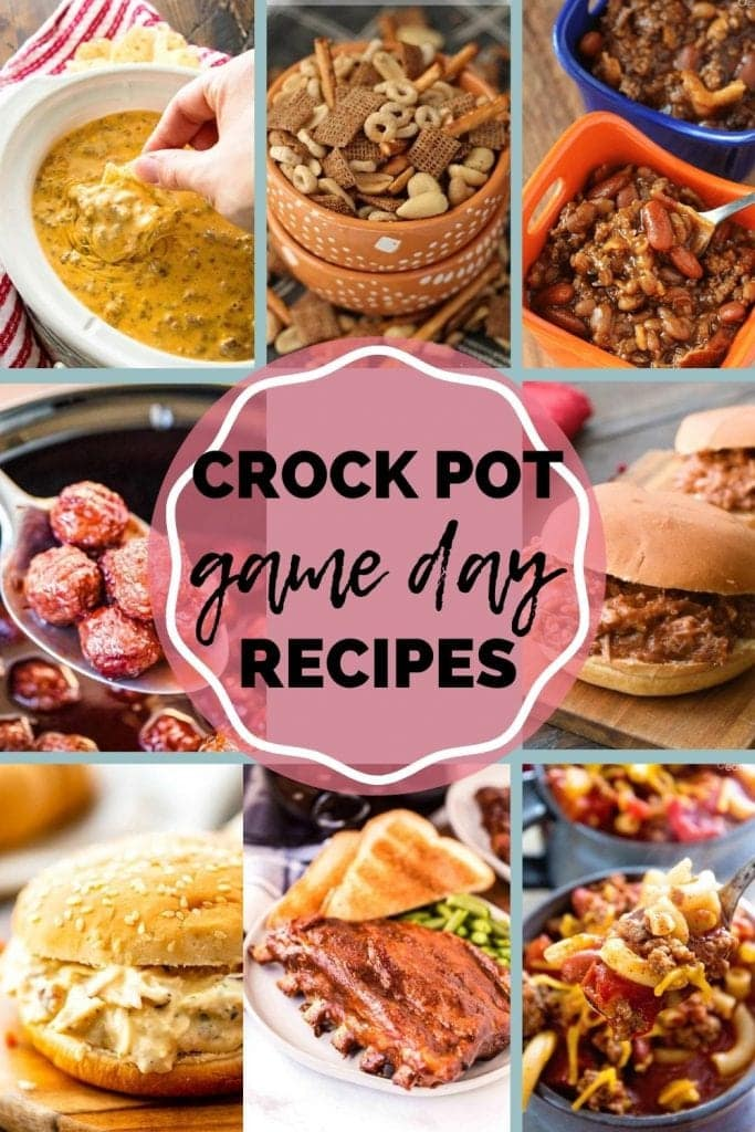 Crock Pot Game Day Recipes Pin Image with text overlay in middle of title and rectangle images surrounding it of recipe images