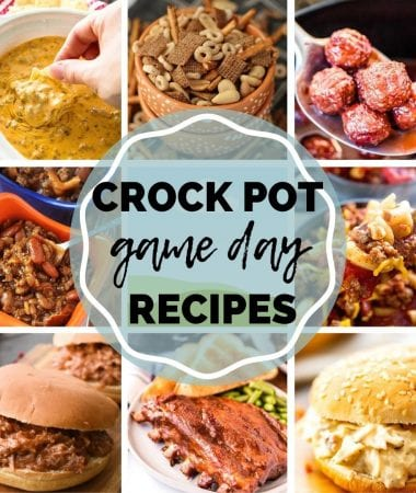 Crock Pot Game Day Recipes Pin Image with text overlay in circle in middle. Square images surrounding the text.