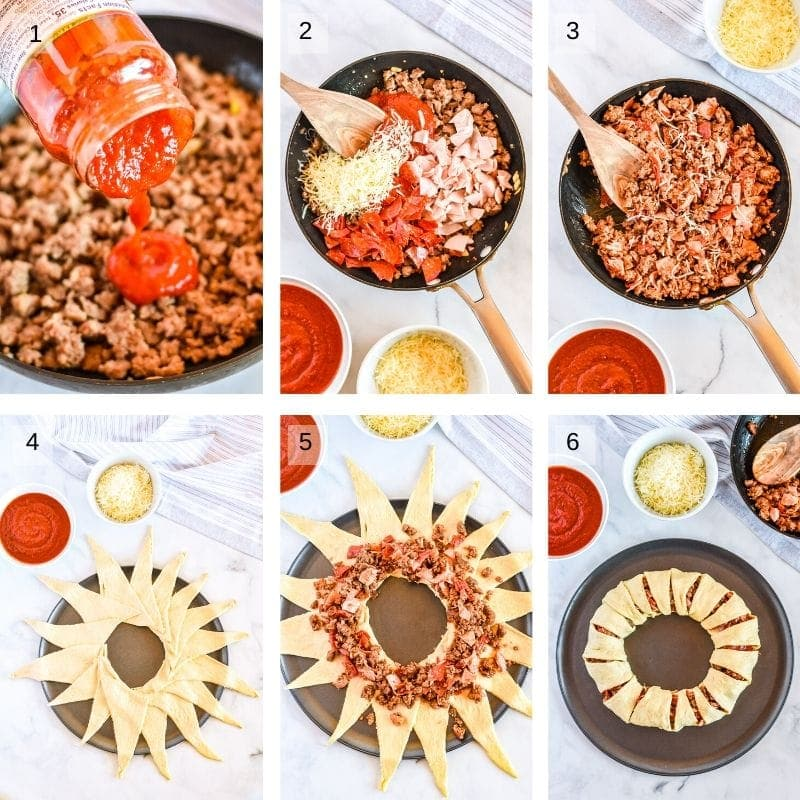 Collage of six photos showing how to make pizza ring