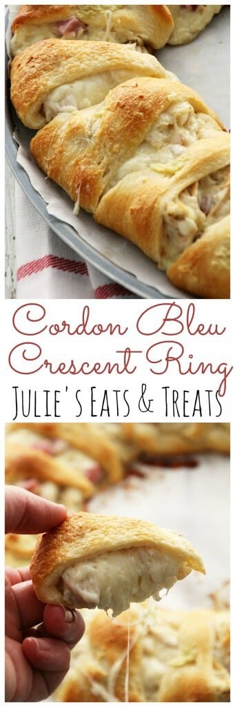 Cordon Bleu Crescent Ring ~ Flaky Crescent Rolls Stuffed with Swiss Cheese, Ham, Chicken and Topped with Garlic Butter! Quick & Easy Dinner!