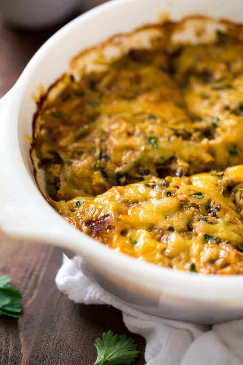 BBQ Chicken Zucchini Noodle Casserole - Gluten free, low carb and protein packed with zucchini noodles and Greek yogurt! Great for healthy weeknight dinners!