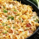 Red Pepper Chicken Alfredo Bake ~ Pasta Smothered in Light Roasted Red Pepper Sauce, Chicken & Cheese!