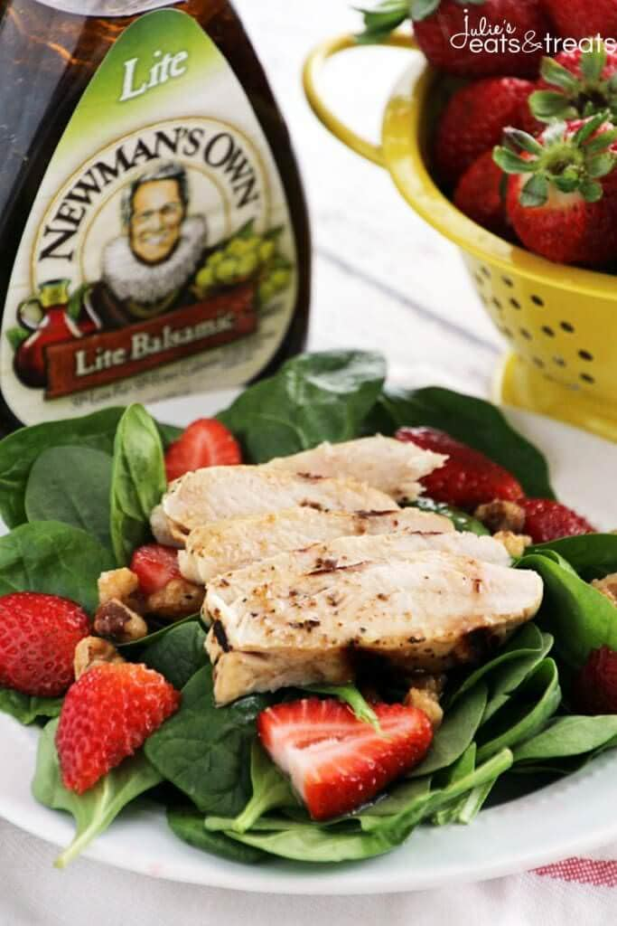 Strawberry Balsamic Chicken Salad ~ Fresh, Flavorful Salad Recipe Loaded with Spinach, Strawberries and Chicken Marinated in Balsamic Dressing!