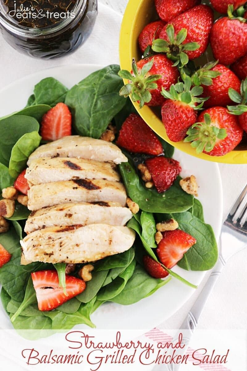 Strawberry and Balsamic Grilled Chicken Salad ~ Fresh, Flavorful Salad Recipe Loaded with Spinach, Strawberries and Chicken Marinated in Balsamic Dressing!