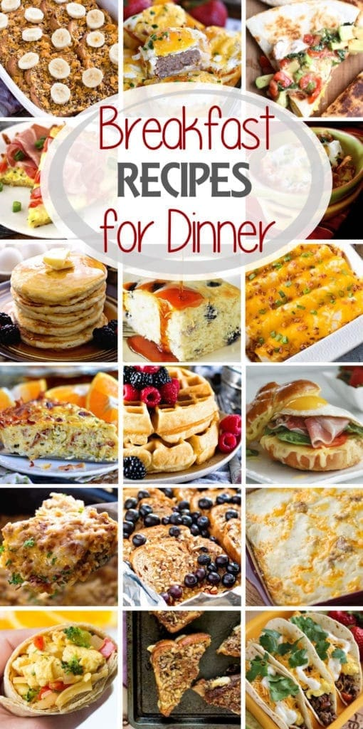Tall photo collage of breakfast foods with text reading breakfast recipes for dinner