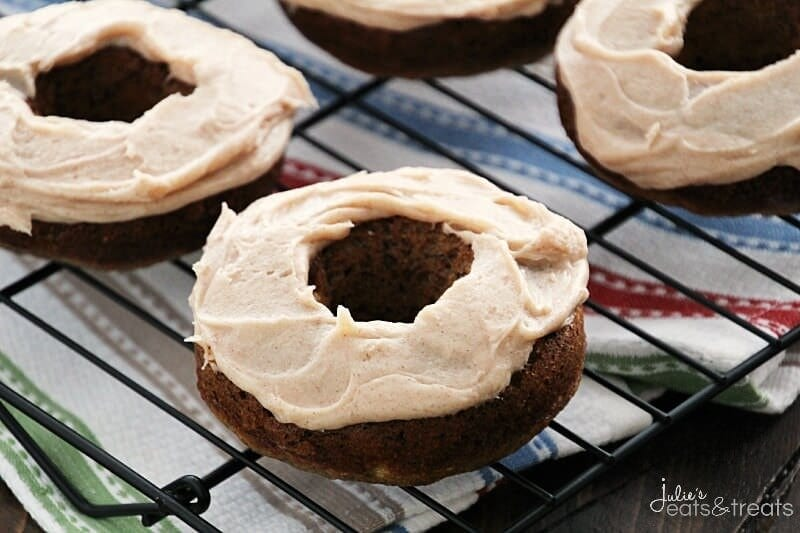 Cinnamon Cream Cheese Frosted Banana Donuts ~ Delicious, Easy, Moist Baked Banana Donuts Topped with Cream Cheese Frosting Loaded with Cinnamon!