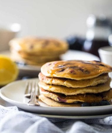 Blueberry Gluten Free Pancakes with Quinoa ~ Gluten free pancakes loaded with blueberries, quinoa and a pop of fresh lemon! They're protein-packed and make a delicious, healthy breakfast!
