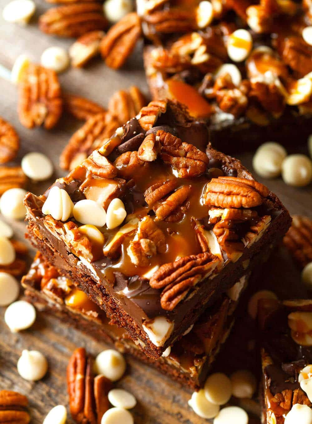Turtle Brownies - the fudgiest brownies studded with pecans, salted caramel and even more chocolate!