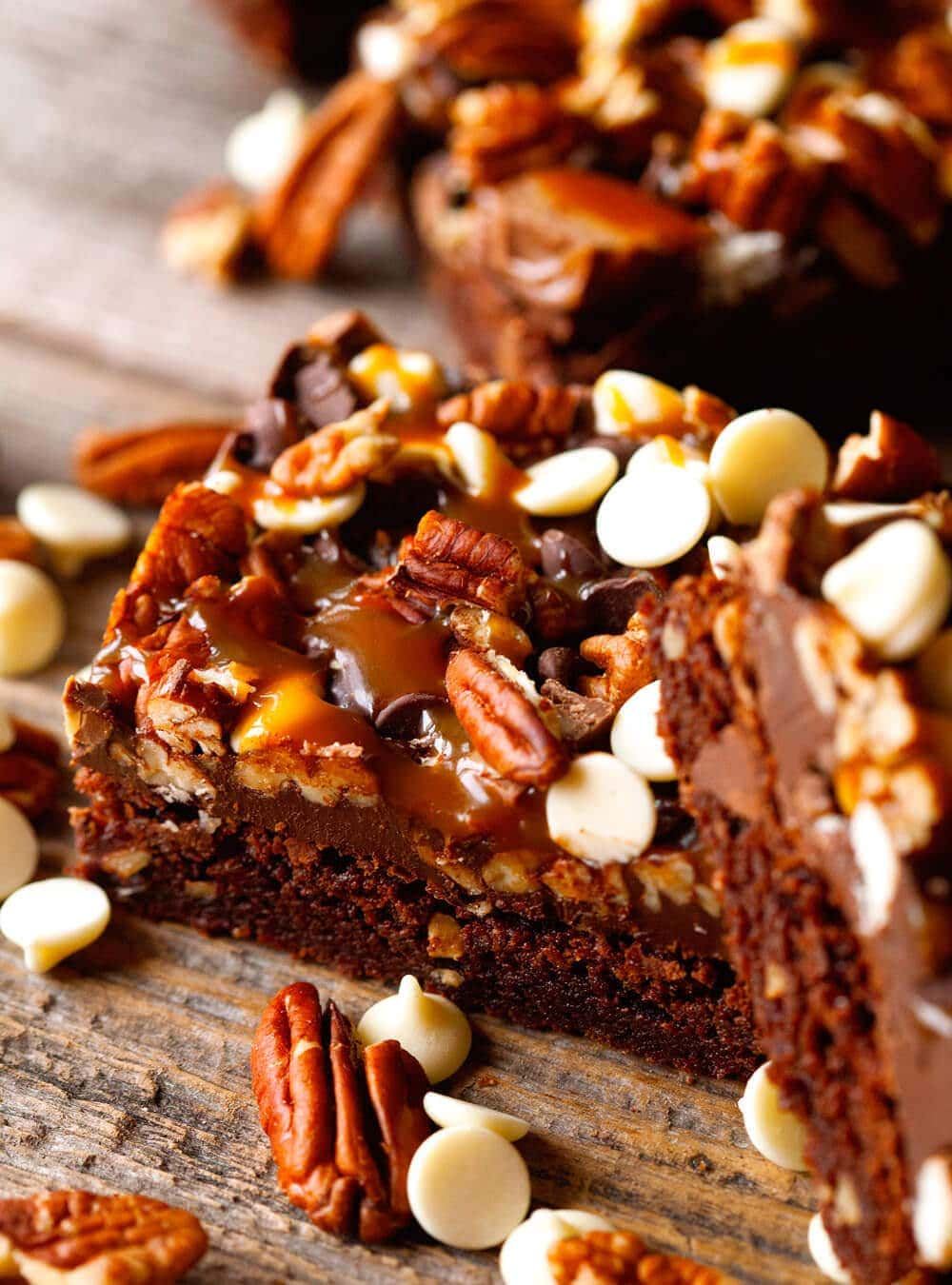 Turtle Brownies - the fudgiest brownies studded with pecans, salted ...