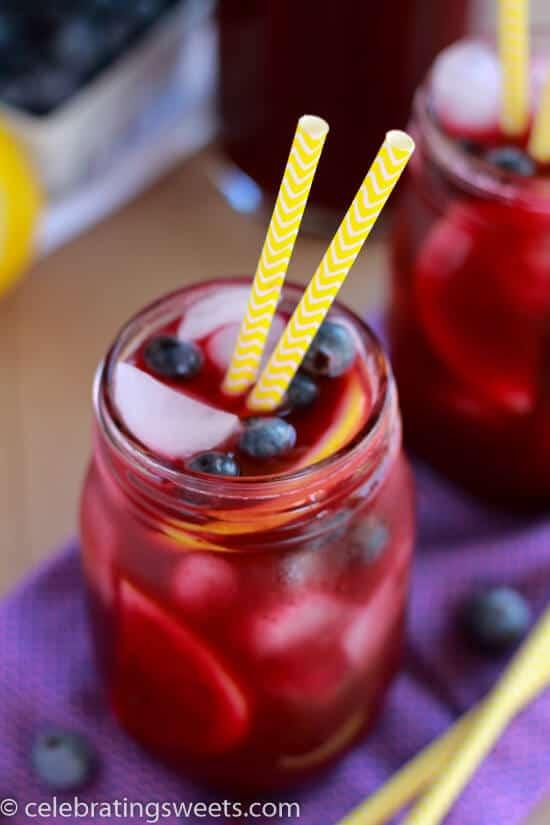 Homemade Blueberry Lemonade in jar