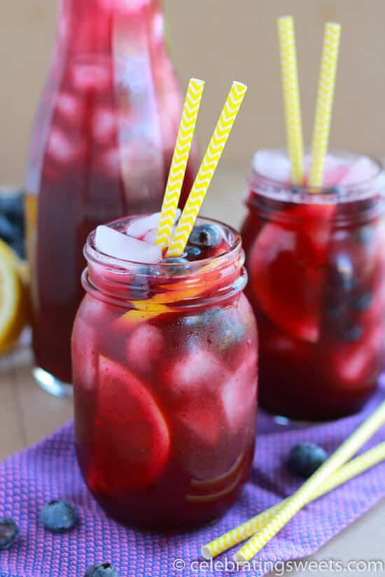 Fresh Blueberry Lemonade in jar