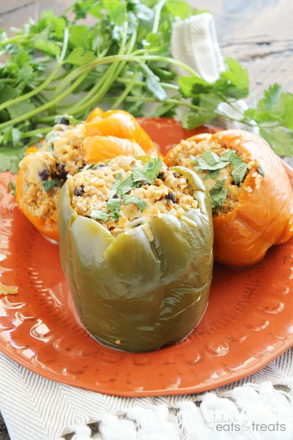 Light Crock Pot Quinoa Chicken Stuffed Peppers ~ Light & Delicious Peppers Stuffed with Quinoa, Black Beans, Onions, Chicken and Cheese then Slow Cooked to Perfection!