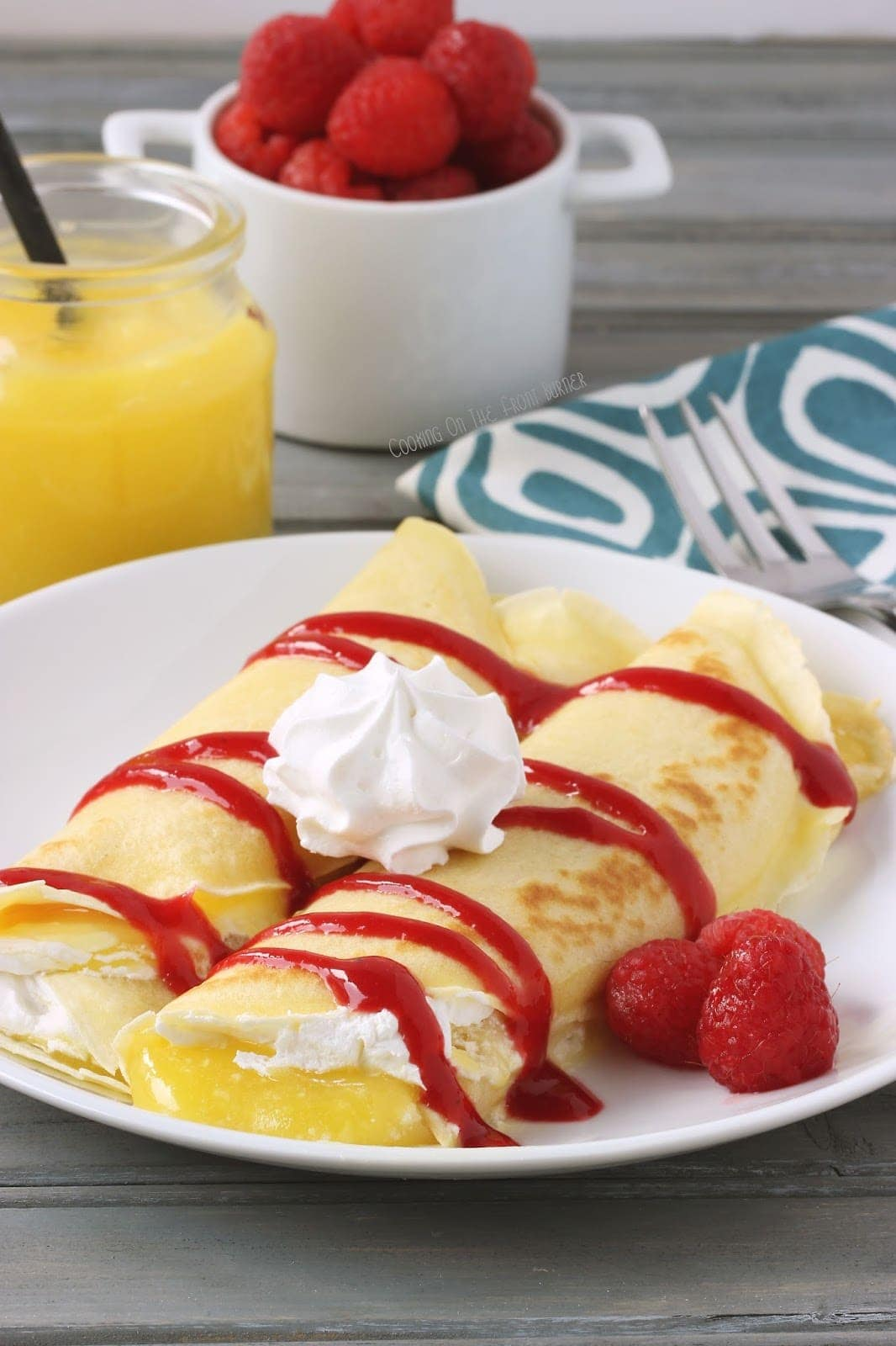 Lemon and Raspberry Crepes | Cooking on the Front Burner #crepes #lemons