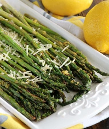 Lemon Roasted Asparagus ~ Fresh Asparagus Roasted in the Oven with a Lemon Drizzle and Parmesan!