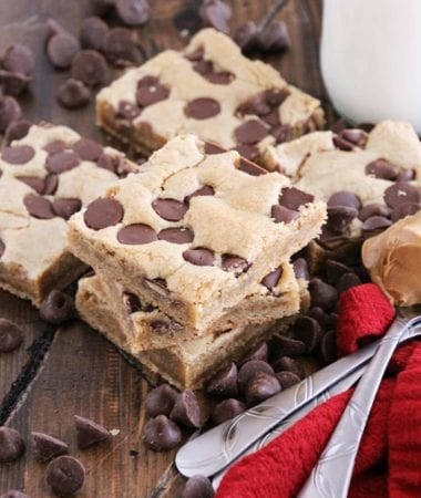 Peanut Butter Chocolate Chip Cookie Bars ~ Soft, Chewy Peanut Butter Cookie Bars Loaded with Peanut Butter Chocolate Chip Morsels!