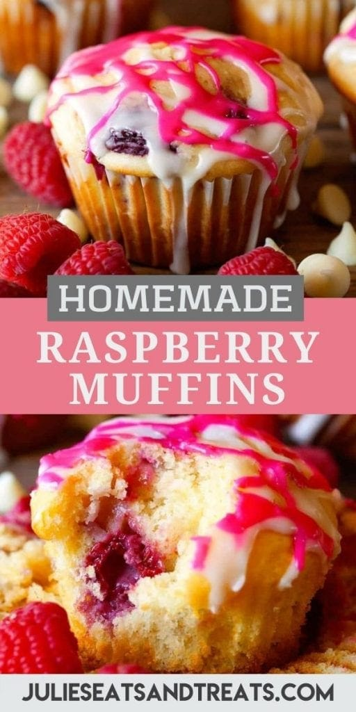 Raspberry Muffins Pin Image with a picture of a muffin on top, text overlay of recipe name in middle then bottom photo of muffin cut open.
