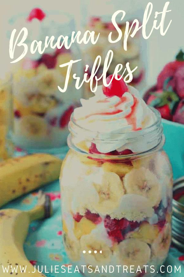 Banana Split Trifle in a mason jar