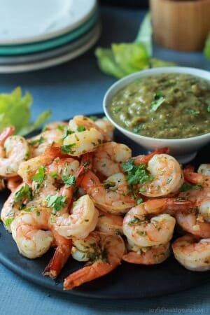 Cilantro Lime Roasted Shrimp with Tomatillo Sauce-3