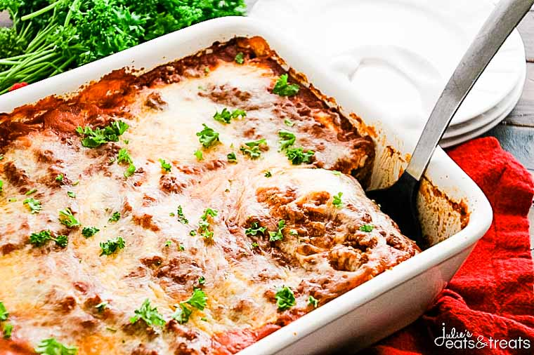 Lasagna Recipe with spatula in casserole dish