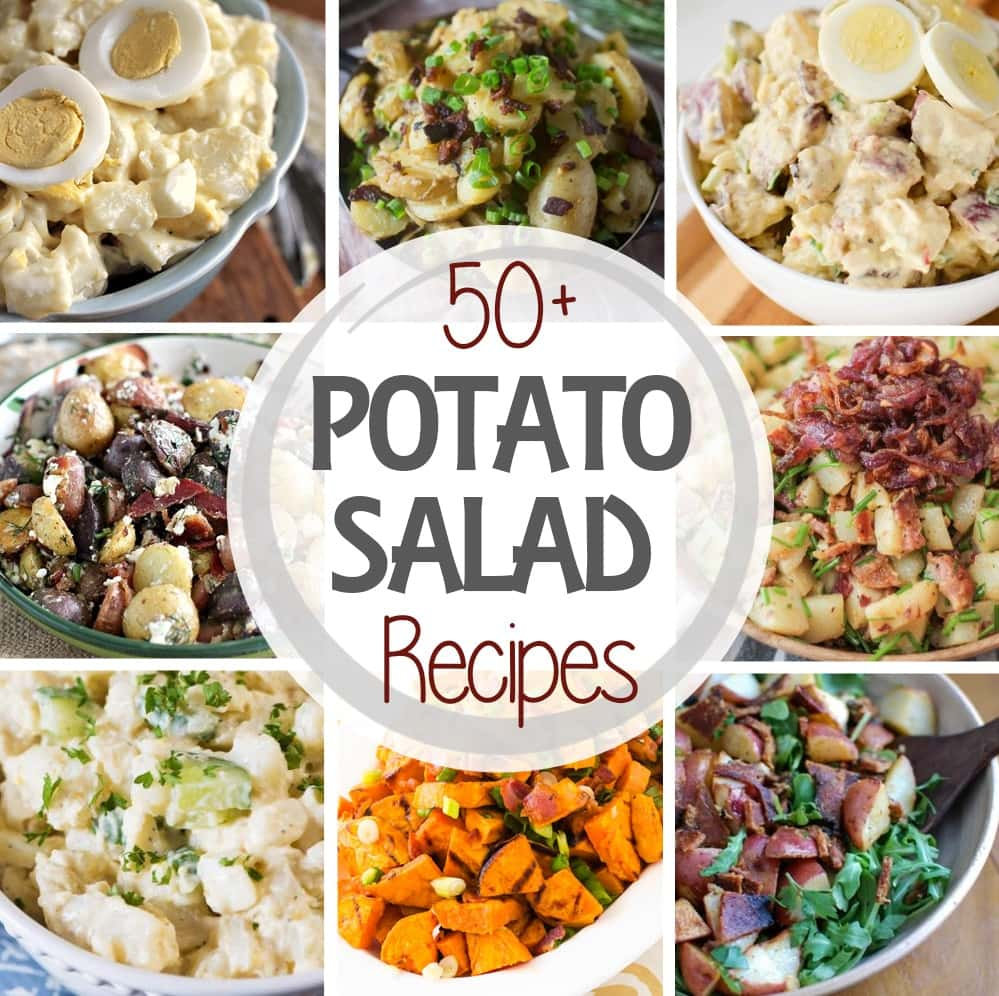Over 50 Potato Salad Recipes! Everything from Sweet Potatoes, Avocados, Bacon, and Beets! There are warm potato salads, grilled potato salads, every flavor combo you can imagine!
