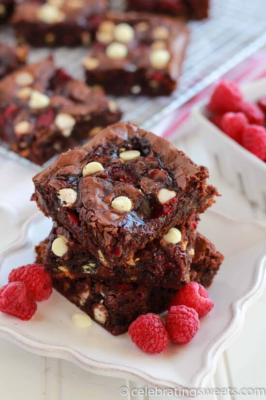 Raspberry White Chocolate Brownies - Fudgy brownies filled with white chocolate chips, raspberry jam, and fresh raspberries