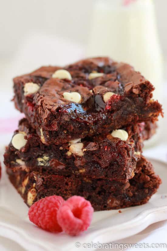 Raspberry White Chocolate Brownies - Fudgy brownies filled with white chocolate chips, raspberry jam, and fresh raspberries