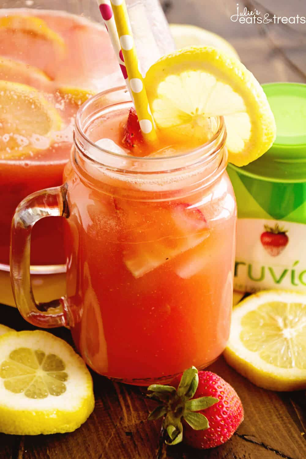 Skinny Spiked Strawberry Lemonade ~ Delicious Strawberry Lemonade Recipe Sweetened with Truvia and Spiked with Strawberry Lemonade Vodka!