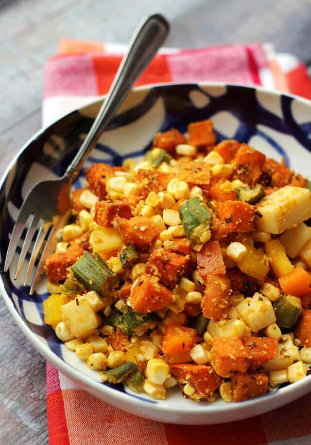 cajun-sweet-potato-salad-with-cornmeal-crusted-okra-corn-and-bell-peppers