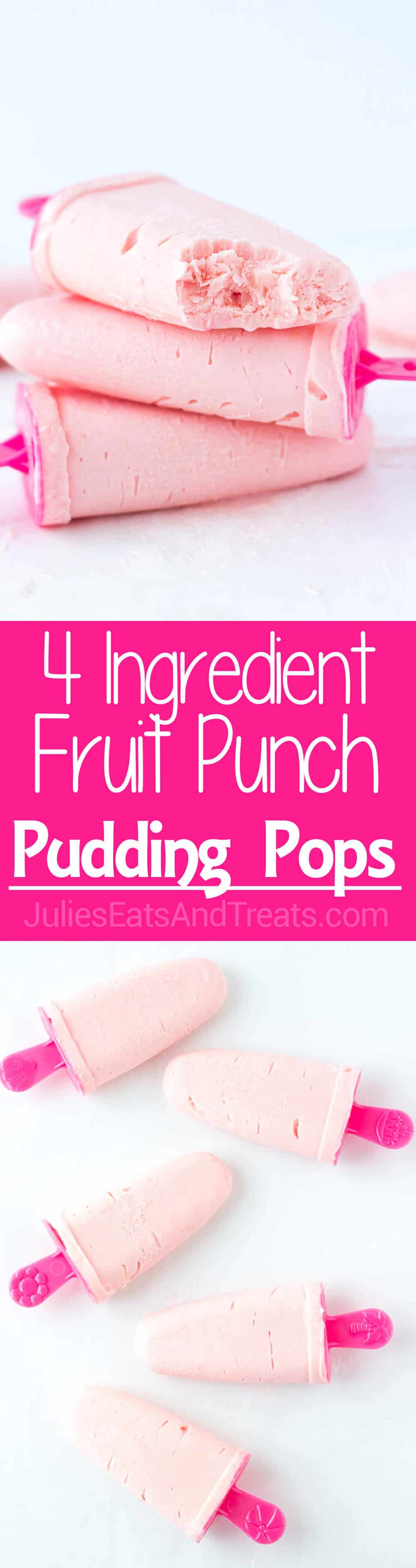 4-Ingredient Fruit Punch Pudding Pops: An easy, fruity, frozen treat that the kids (and adults!) will love this summer! Flavor the pudding pops with any juice flavor you love!
