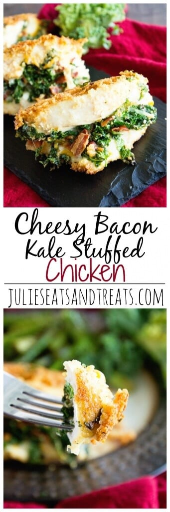 Cheesy Bacon Kale Stuffed Chicken ~ Delicious, Tender Chicken Breasts Stuffed with Cheese, Bacon and Kale! Quick, Easy and Delicious Recipe!