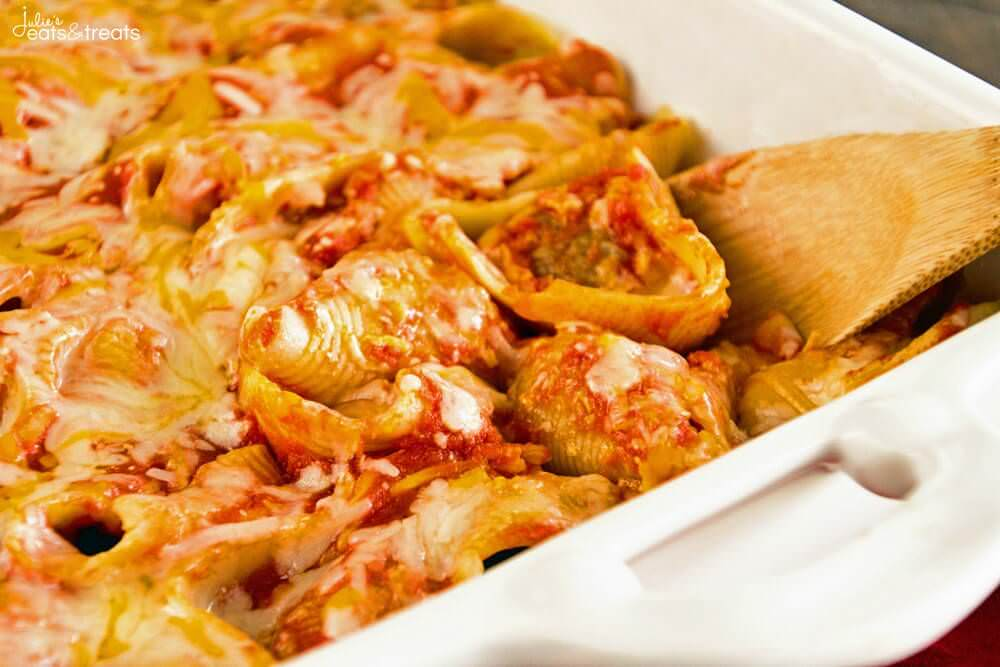 Easy Meatball Stuffed Shells ~ Quick, Easy Delicious Recipe! Shells Stuffed with Meatballs then Smothered in Spaghetti Sauce and Cheese!