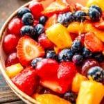 Prepared fruit salad recipe in bowl