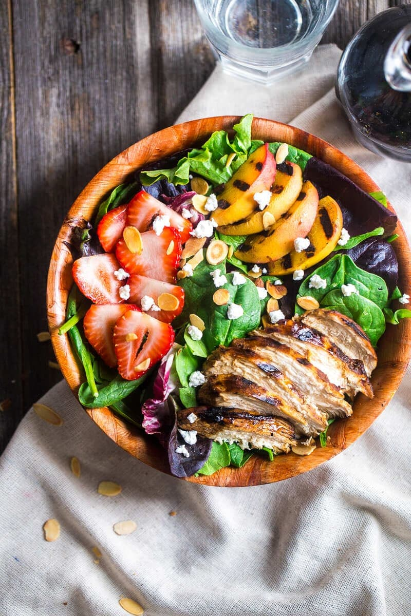 Strawberry Salad with Grilled Nectarines Recipe ~ Strawberry salad is mixed with chicken, grilled nectarines, goat cheese and topped with balsamic vinaigrette for sweet and tangy, healthy summer meal!