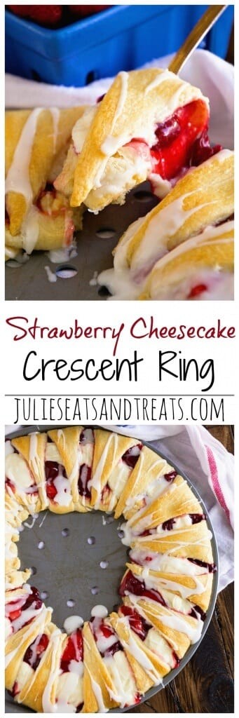 Strawberry Cheesecake Crescent Ring ~ Tender, Flaky Crescent Rolls Stuffed with Strawberry Pie Filling & Cheesecake then Drizzled with Icing! Perfect Quick & Easy Breakfast Recipe!