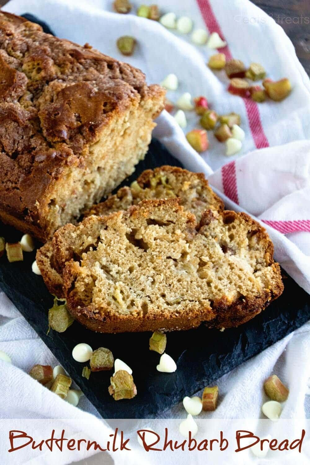 Buttermilk Rhubarb Bread ~ Quick, Easy Bread Recipe Loaded with Rhubarb and White Chocolate Chips!