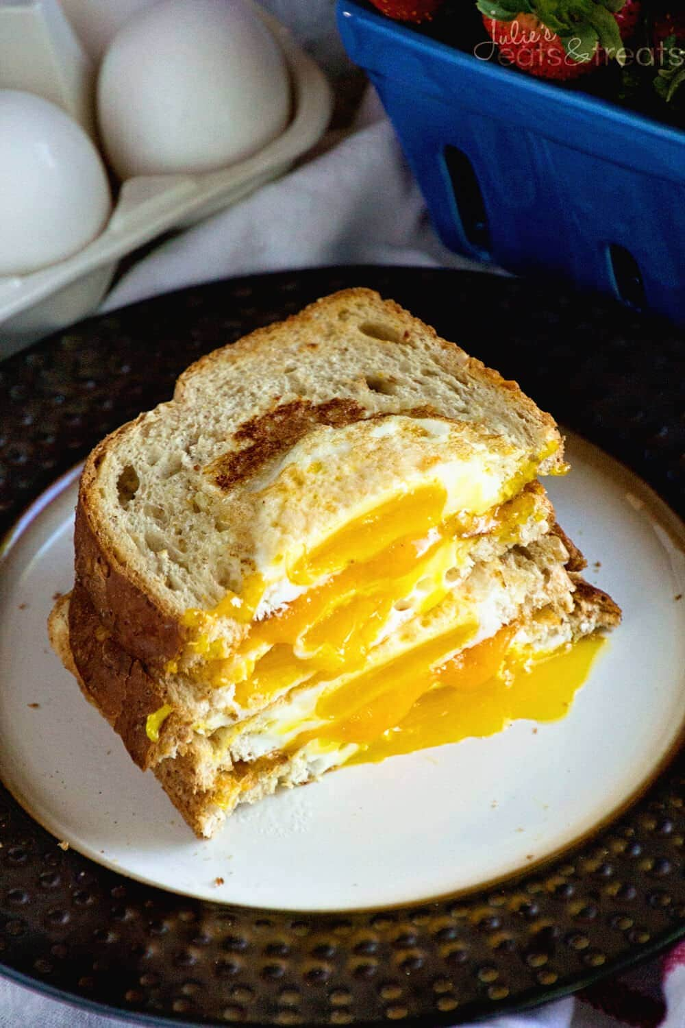 Cheesy Egg in a Hole ~ Delicious Breakfast Sandwich Recipe! Quick and Easy Eggs in a Piece of Toast with Cheese Sandwich Between them!