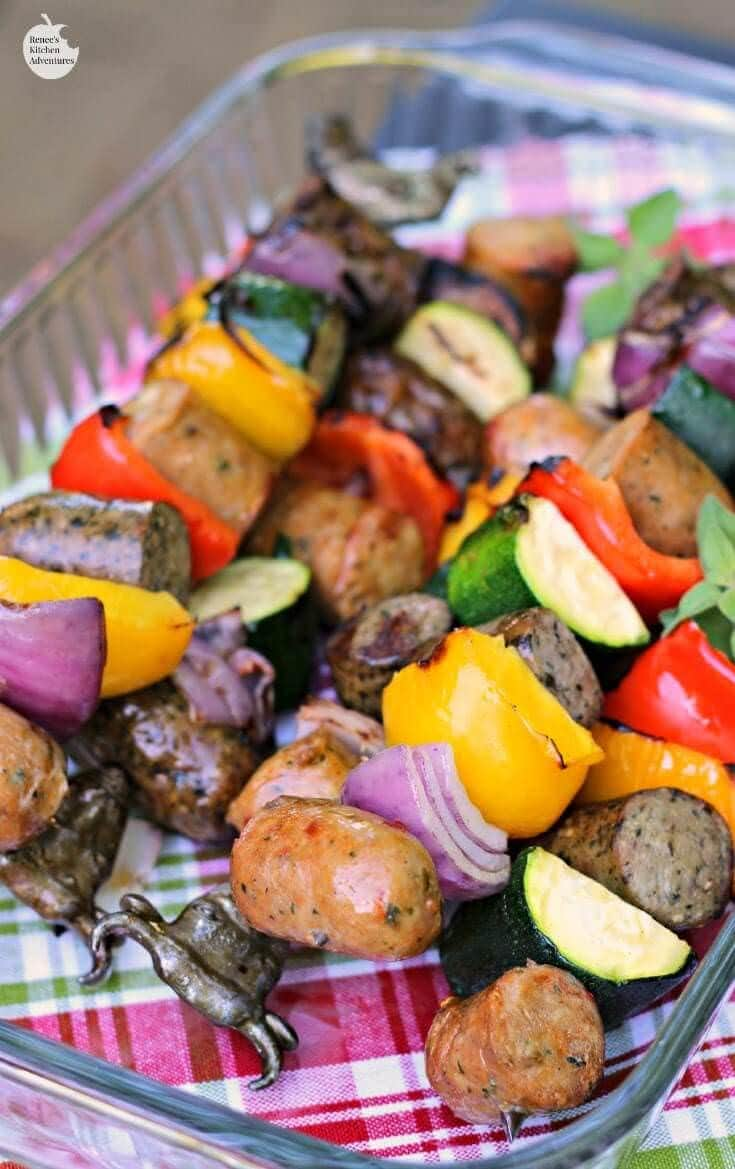 Easy Chicken Sausage and peppers kabobs hero