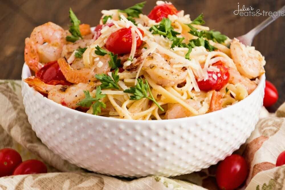 Grilled Shrimp & Tomato Pasta ~ Quick and Delicious Pasta Recipe Loaded with Seasoned Shrimp, Cherry Tomatoes and Parmesan Cheese!