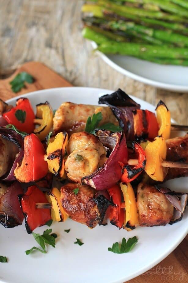 Grilled-Chicken-Sausage-Pepper-Onion-Kabobs-1