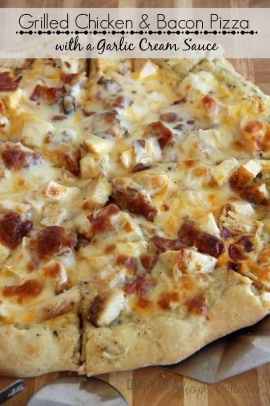 Garlic Chicken & Bacon Pizza with a Garlic Cream Sauce