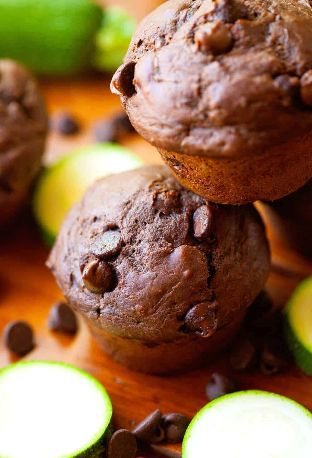 Double Chocolate Zucchini Muffins – Moist, Quick and Easy Muffin Recipe! Loaded with chocolate and the very best way to sneak vegetables into your diet!