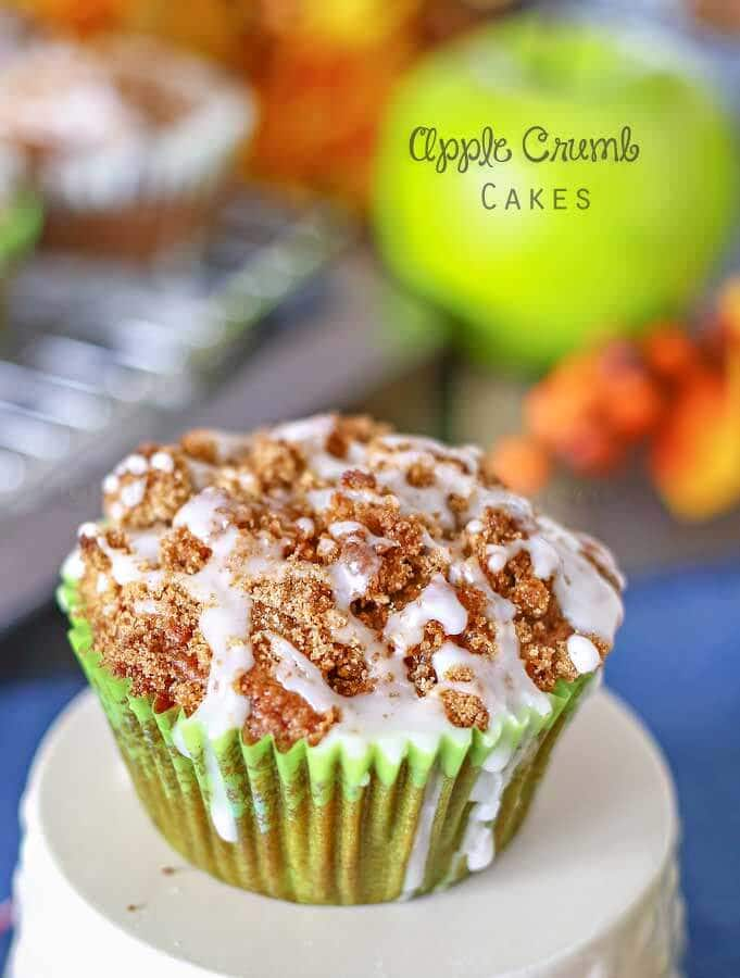 Apple Crumb Cakes Recipe ~ Soft & fluffy cake, packed with apples, cinnamon & molasses, add to that a crumb topping & frosting drizzle!