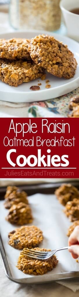 Apple Raisin Oatmeal Breakfast Cookies ~ These easy, one-bowl breakfast cookies are made with oatmeal, apples, raisins and almond butter for a healthy, vegan breakfast, perfect for busy mornings!